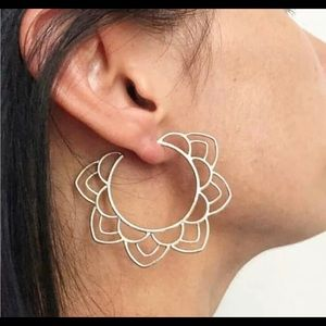 Boho style silver tone earrings